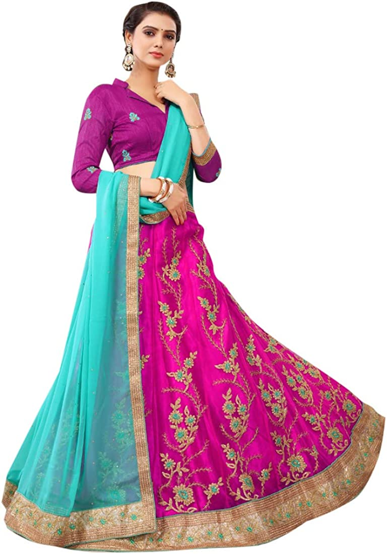 BOLLYWOOD DESIGNER FLORAL LENGHA HEAVY TRADITIONAL ETHNIC SEMI STITCHED LENGHA