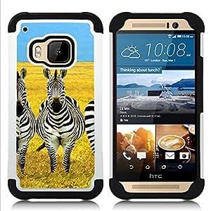 For HTC ONE M9 - savannah Africa yellow black white Dual Layer caso de Shell HUELGA Impacto pata de cabra con im??genes gr??ficas Steam - Funny Shop -