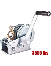 Notika 3500lbs Dual Gear Hand Winch Hand Crank Manual Boat ATV RV Trailer 33ft Cable