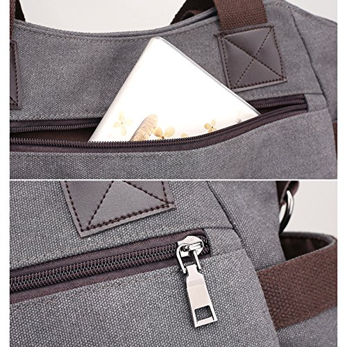 for Canvas Large Vintage Crossbody Tote Hobo Bag Handbags Fanspack Grey Top Messenger Shoulder Capacity Handle Women Bag Bag qdtCnx