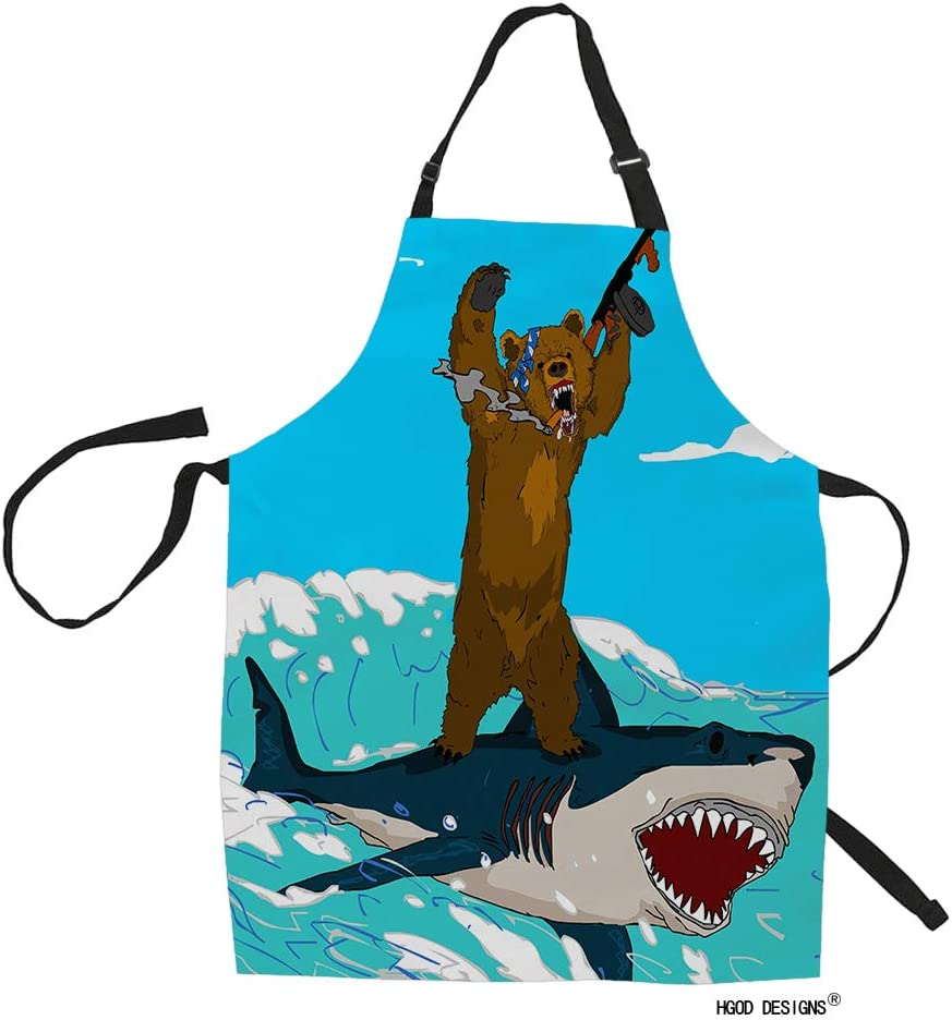 HGOD DESIGNS Bear and Shark Kitchen Apron,Funny Cartoon Bear Riding Shark Fight Kitchen Aprons for Women Men for Cooking Gardening Adjustable Home Bibs,Adult Size