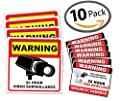 "Video Surveillance Sticker Sign - 10 Pack - Home & Business Security Alarm System Stickers - (4)5.5"" x 5.5"" inches & (6)3"" x 4"" inches - Warning Surveillance Sign - Robbery & Theft Prevention by Evolve Skins"