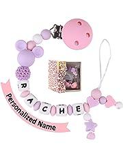 Bebé Chupetero Mordedor Personalizado con Nombre Silicona Soothie chupete Holder & Binky Clips, mejores regalos de Baby Shower (purple)