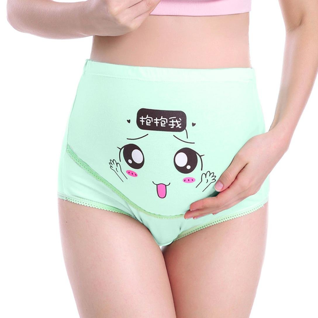 Maternity Panties, SUKEQ Women's Adjustable High Cut Cotton Over Bump Underwear Brief Cartoon Smile Seamless Soft Cover Belly Pant (Medium, Green)