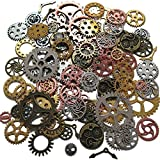 N'joy 100-Piece Skeleton Steampunk Clock Watch Gear Cog Wheel Pendant Charms, Assorted Colors