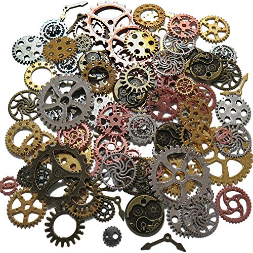N'joy Steampunk Gear Cog Wheel (8 oz/220G) Skeleton Clock Watch Pendant Charms, 100PCS-Assorted Colors