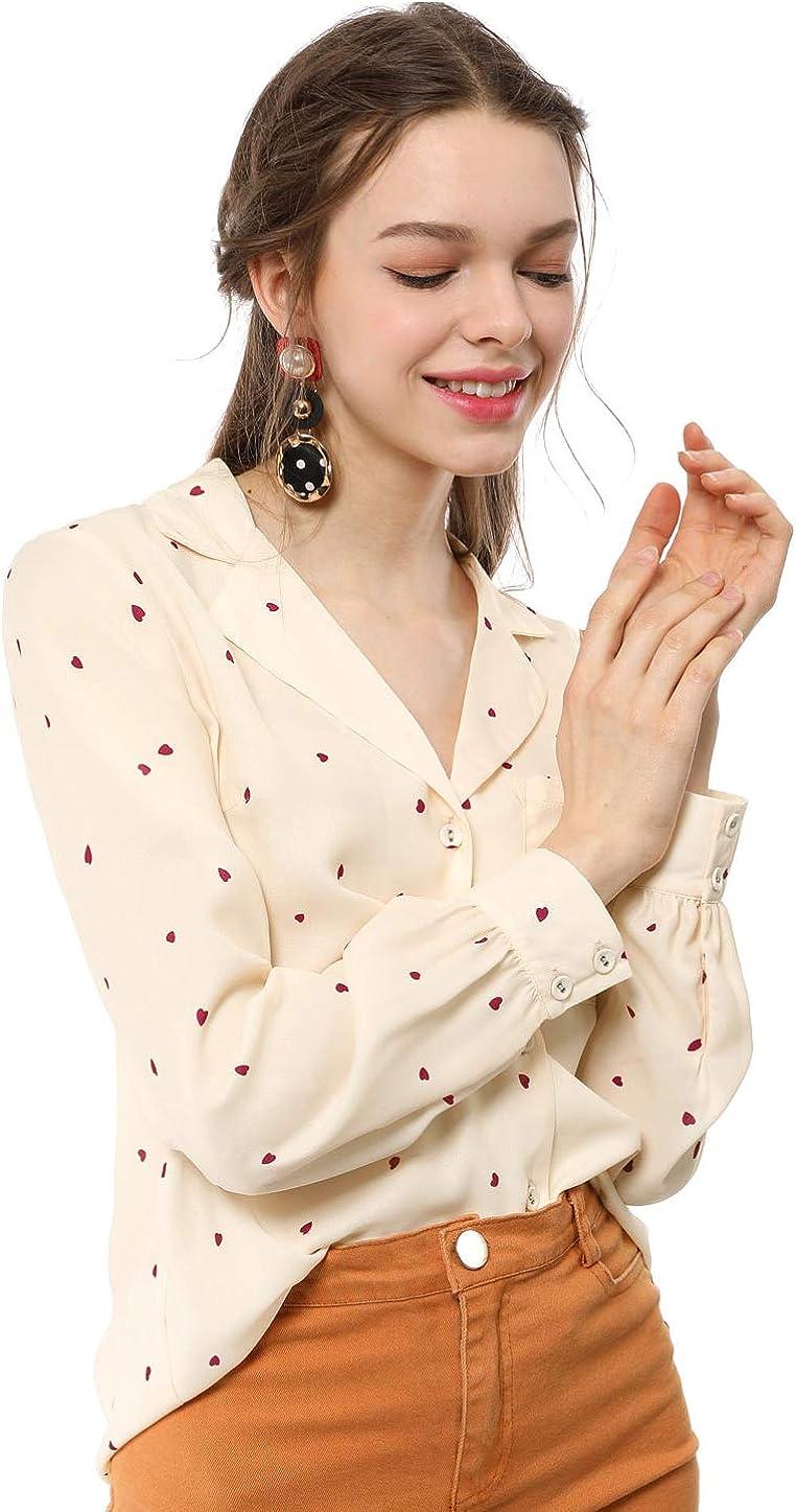 Allegra K Women's Heart Polka Dots Button Up Notched Lapel V Neck Shirt Tops
