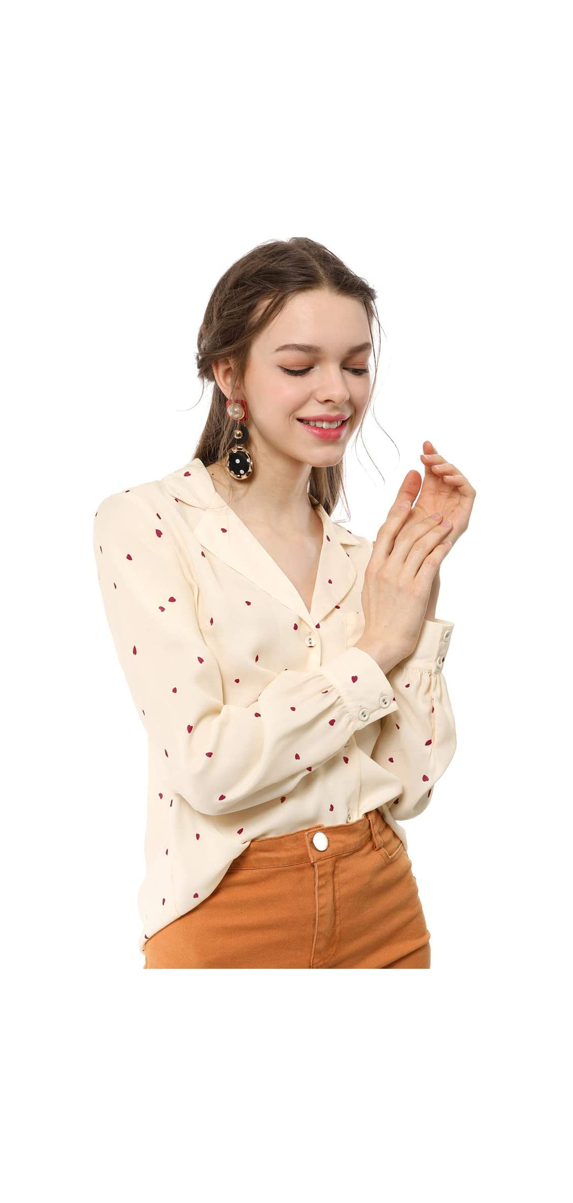 Women's Heart Polka Dots Button Up Notched Lapel V