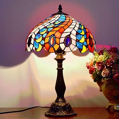 ZWJ-Lámpara de mesa de cristal Lámpara Tiffany, De Estilo Rural ...