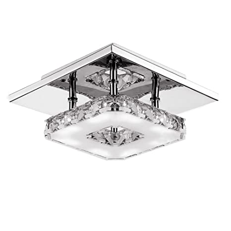Amazon fuloon 12w modern crystal led ceiling light pendant fuloon 12w modern crystal led ceiling light pendant flush lamp stainless steel chandelier decor perfect for aloadofball Choice Image