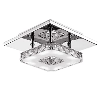Amazon fuloon 12w modern crystal led ceiling light pendant fuloon 12w modern crystal led ceiling light pendant flush lamp stainless steel chandelier decor perfect for mozeypictures Gallery