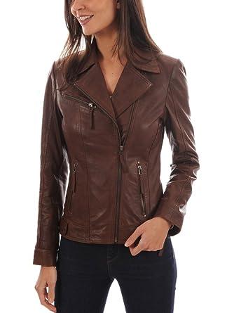 eb066246f Prim leather Women's Lambskin Leather Bomber Biker Jacket Long Sleeves  Zipper