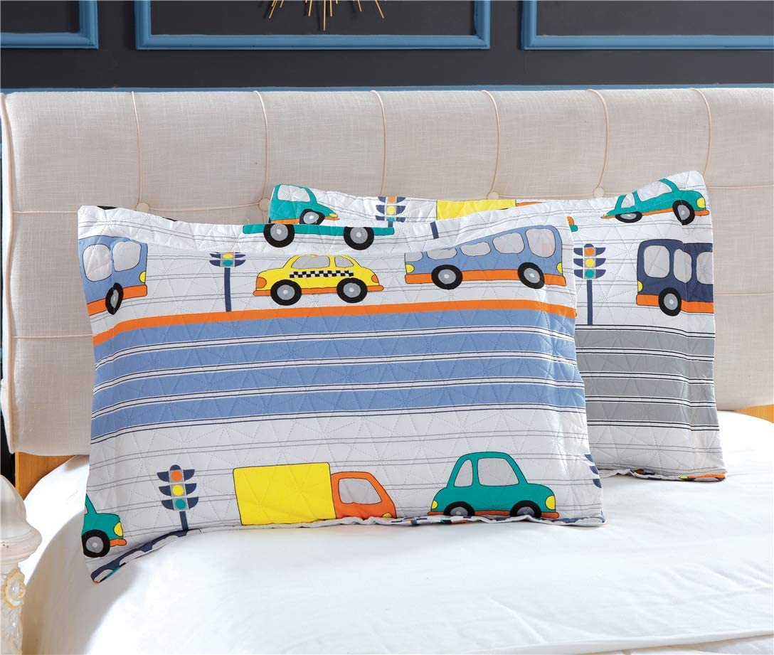 Multi-Color Car Bedding Summer Quilts Set Twin Size,3Pcs Lightweight Kids Bedspreads City Traffic Bus Taxi Tram Printed Bedding Coverlets Set Pillow Shams