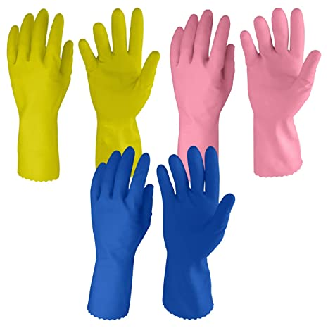 Primeway� LW1_3As Medium Just Gloves Natural Rubber Flock Lined Hand Gloves Set, Pack of 3 Pairs
