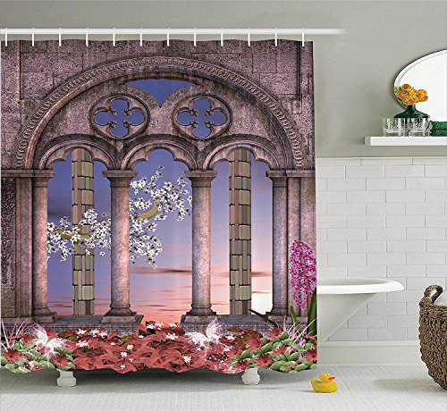 [Gothic House Decor Shower Curtain Set Ancient Colonnade in Secret Garden with Flowers at Sunset Enchanted Forest Bathroom Accessories Blue Lilac Dried] (Camper Gothic Costumes)