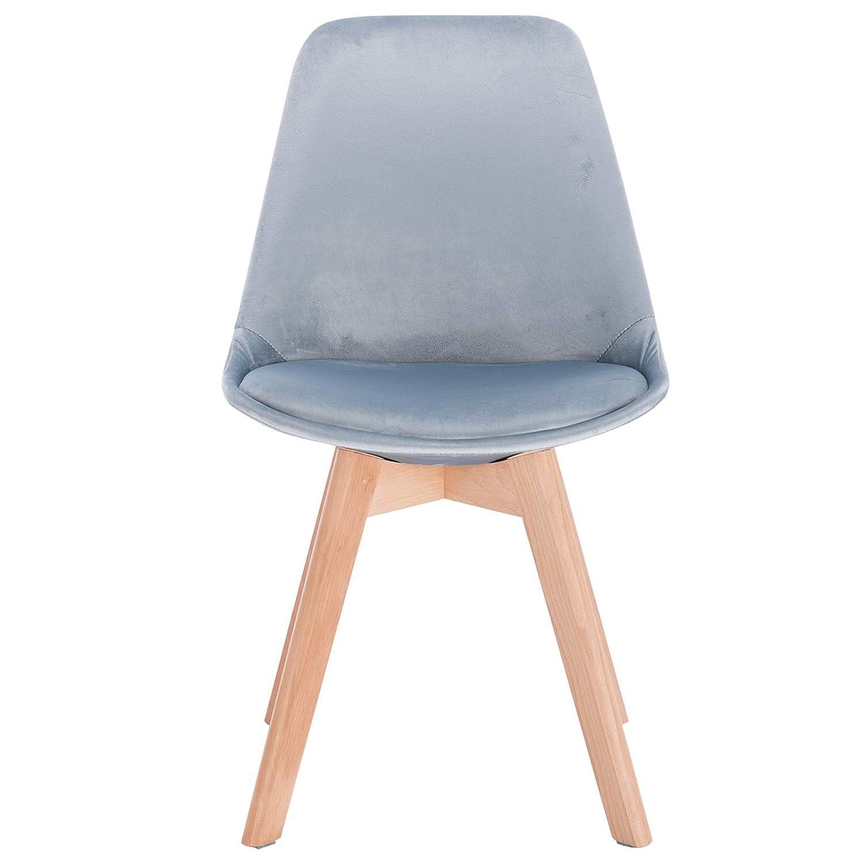 WOLTU BH132ts-2 Sedie per Sala da Pranzo Sedia da Scrivania con Schienale Rivestito in Velluto Azzurro Gambe Legno Moderno 2 Pezzi