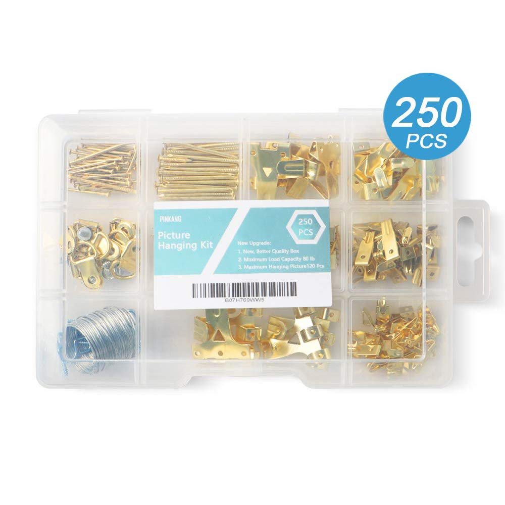 Picture Hanging Kit,250PCS Wall Picture Hooks,Picture Hanging Hooks Including 75Ib to 10Ib Hooks,D Ring Hangers,Sawtooth Backs,Screw Eyes,Steel Twisted Wire,Nails,Can Hang Photos and Various Items