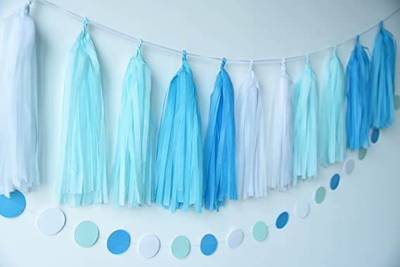 20 guirnaldas de papel de borla para decoración de fiestas de color turquesa, azul, blanco, para bodas, fiestas de cumpleaños, decoración de guardería, ...