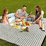 AMMSUN Extra Large Picnic Outdoor Blanket, 80''x80'' Waterproof Foldable Blankets Gingham Picnic Mat Portable for Beach, Camping on Grass Picnic Blankets Green White