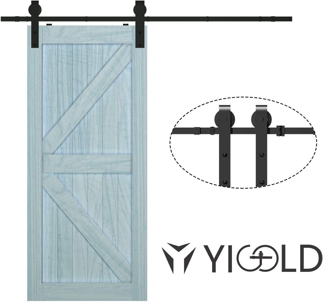 10ft Sliding Barn Door Hardware Kit,Hardware for Barn Doors Antique Style,Slide Smoothly Quietly,Factory Outlet Upgraded Version Quality Carbon Steel- J Shape Hanger,Double Door;Black