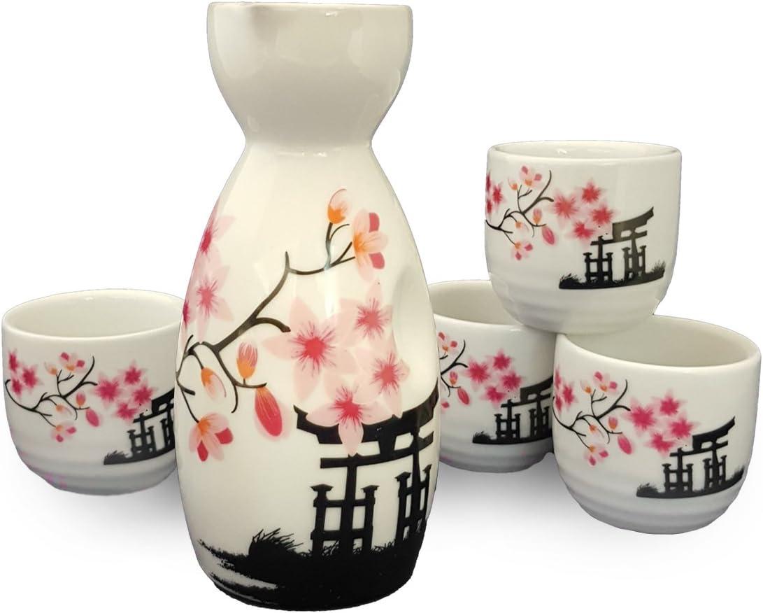 Happy Sales Japanese Sake Set White and Pink Blossom