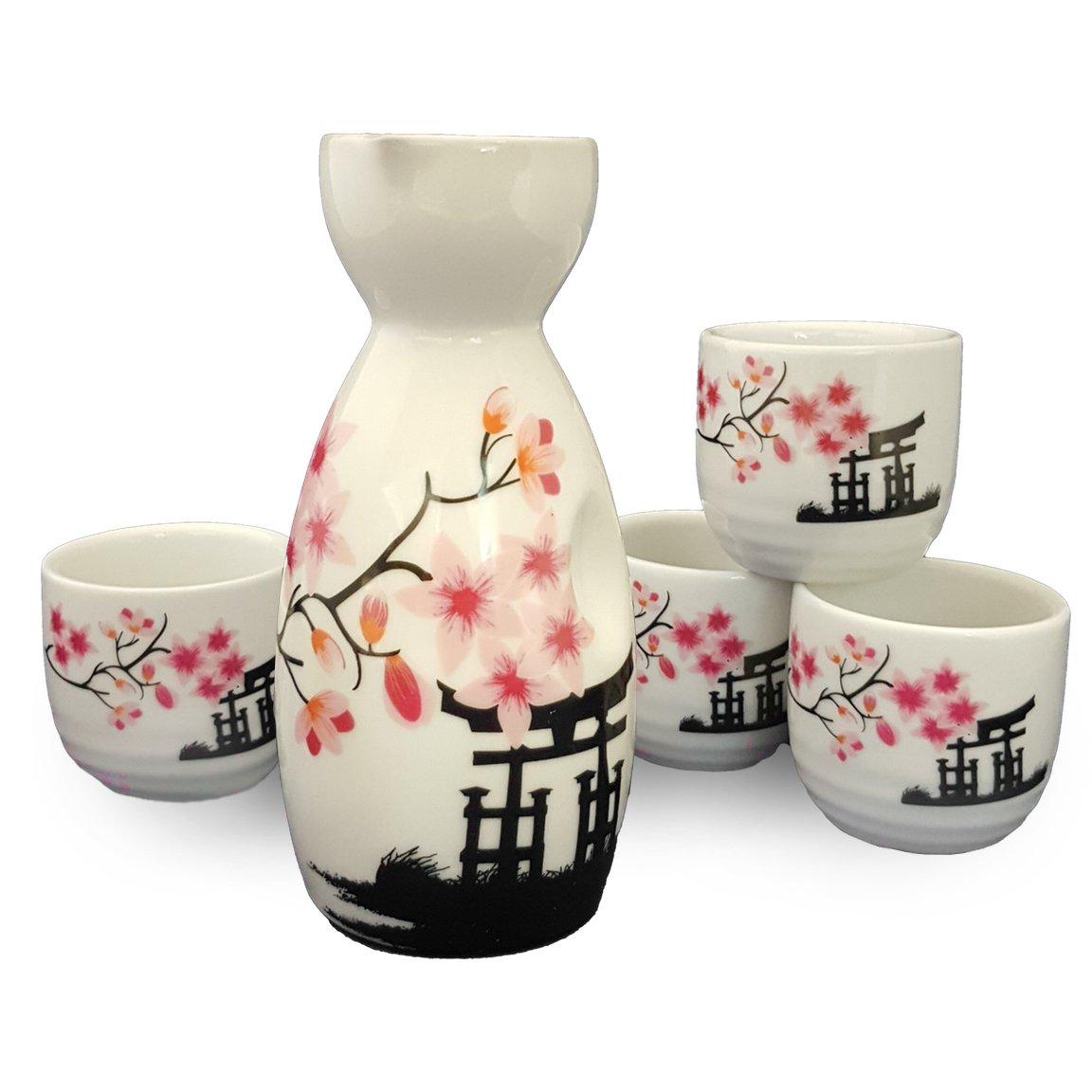 Happy Sales HSSS-CBWP31 Japanese Sake Set White Blossom, Pink