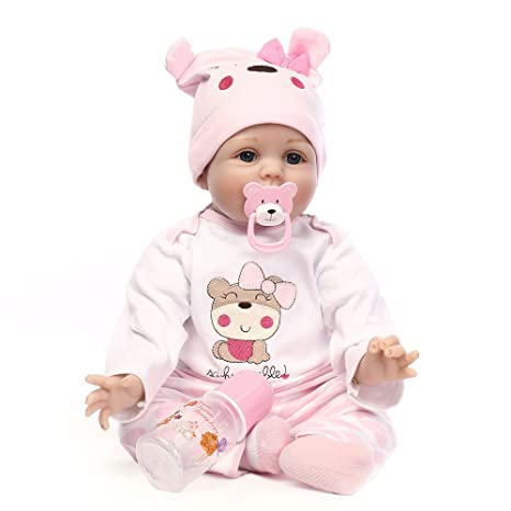 Review Minidiva Reborn Baby Dolls 22 inch, Quality Realistic Handmade Babies Dolls Girls Soft Vinyl Silicone Lifelike Kids Gifts / Toys Age 3+, EN71 Certification