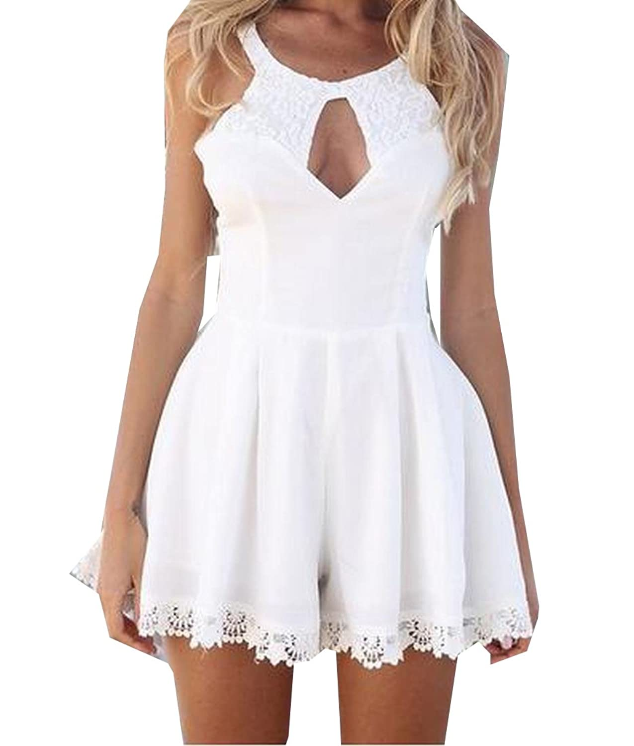 YUNY Womens Sexy Hollow Out Lace Ink Backless Wild Harness Dress