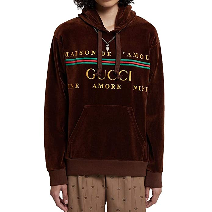 Gucci Women's Cotton Embroidery Sweatshirt Hoodie Brown