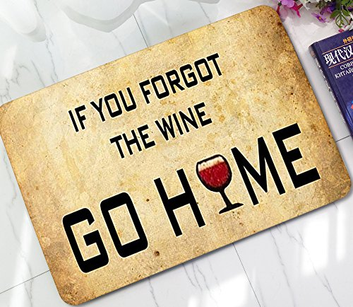 ChezMax Wine Cup Printed Non-slip Doormat Coral Fleece Indoor Outdoor Kitchen Floor Rug Front Door Mat Funny Flannel Carpet 23.62