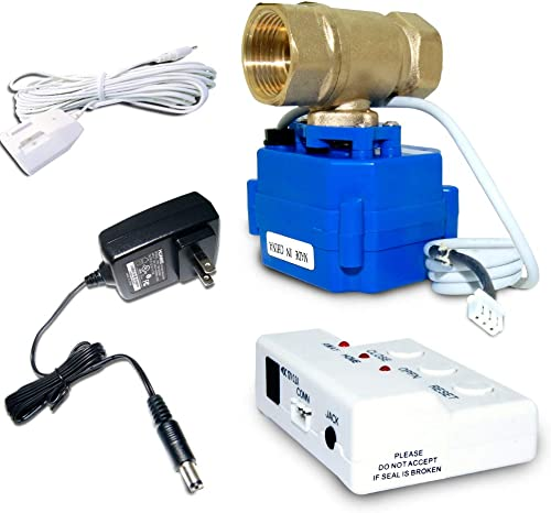 E-SDS Water Leak Detector with Shutoff Valve,Sensors and Sounds Alarm,Automatic Water Leak Shut Off Valve System,for Pipes 3 4 NPT,Flood Prevention for Laundry,Water Heaters and More
