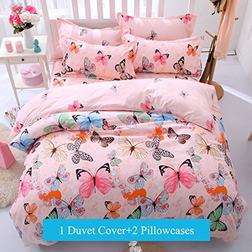 Bedding Duvet Cover Set 3-pieces Twin Size Microfiber, Pink Green Brown Blue Black Butterflies Prints Animal Floral Patterns Design,Without Comforter (Twin, (1Duvet Cover+2Pillowcases)#01) (Bedding Butterfly Next Sets)