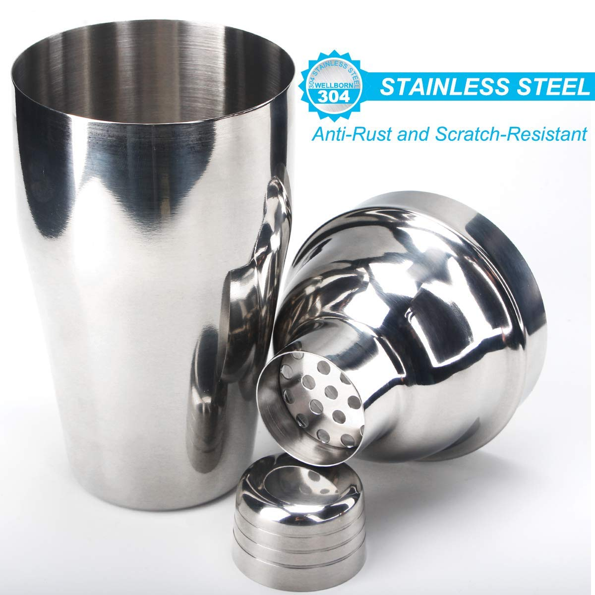 15 Piece Bartender Kit Cocktail Shaker Set with Stand: Home Bar Tools Set - Shaker with Strainer, Muddler, Jigger, Stand, Ice Thong and More - with Cocktail Recipes - Cocktail Shaker Stainless Steel by SUPERSUN (Image #2)