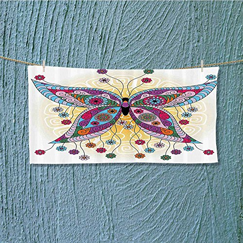Photo Or Text Image DIY Personalized Custom Towels/Hand Towel Acrylic for Beach, Pool or Bath! Unisex towels!(Butterfly Ethnic Embellished Moth with Spring Flora Blooms on Sunny Backdrop Image Fa)