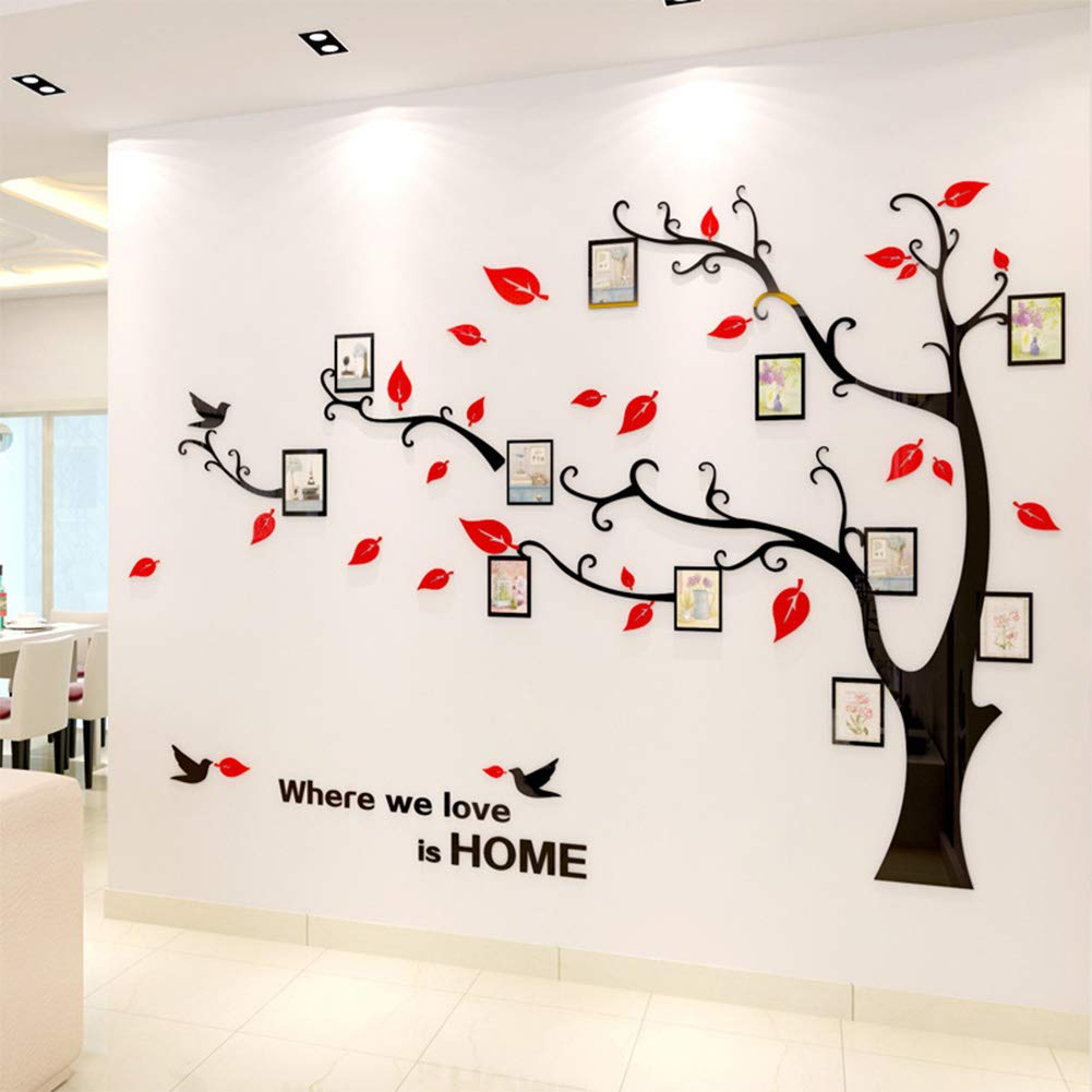 Photo Picture Frames DIY3D Acrylic Huge Black/Brown Art Tree Wall Stickers Living Room Branches Install Family Warm Right
