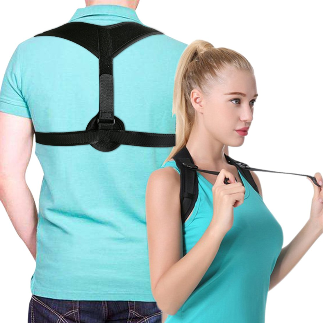 Posture Corrector Upper Back Braces for Women Men, Adjustable Thoracic Brace for Hunching Slouching, Neck Shoulder Supports for Upper Back Alignment and Pain Relief, Bonus Gift 2x Armpit Pads by STSTECH (Image #1)