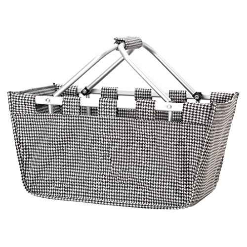 Fashion Print Aluminum Frame Collapsible Design Utility Market Tote Basket (Personalized Houndstooth)
