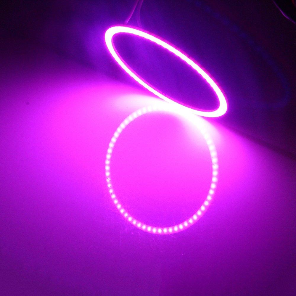 Angel Eyes LED COB Halo Car Ring DRL Daytime Running Lights 80mm Blue 12V 24V DC Package 2