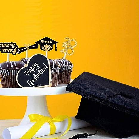 Details about  /24pcs 2020 Graduation Theme Cake Toppers Glitter Paper Cake Picks Graduation Cap