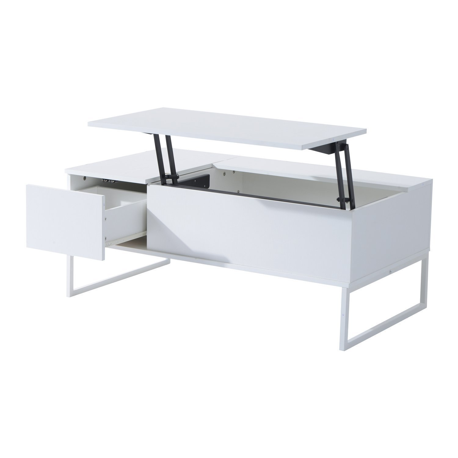 "Amazon Hom 43"" Modern Lift Top Coffee Table White"