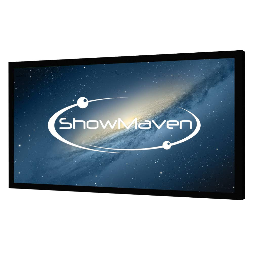 ShowMaven 100'' Fixed Frame Projector Screen, Diagonal 16:9, Active 3D 4K Ultra HD Projector Screen for Home Theater or Office