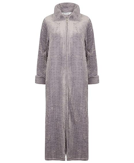 47fd66552c Slenderella Ladies Faux Fur Collar Dressing Gown Zip Up Super Soft Fleece  Bathrobe (Small - XXXL)  Amazon.co.uk  Clothing