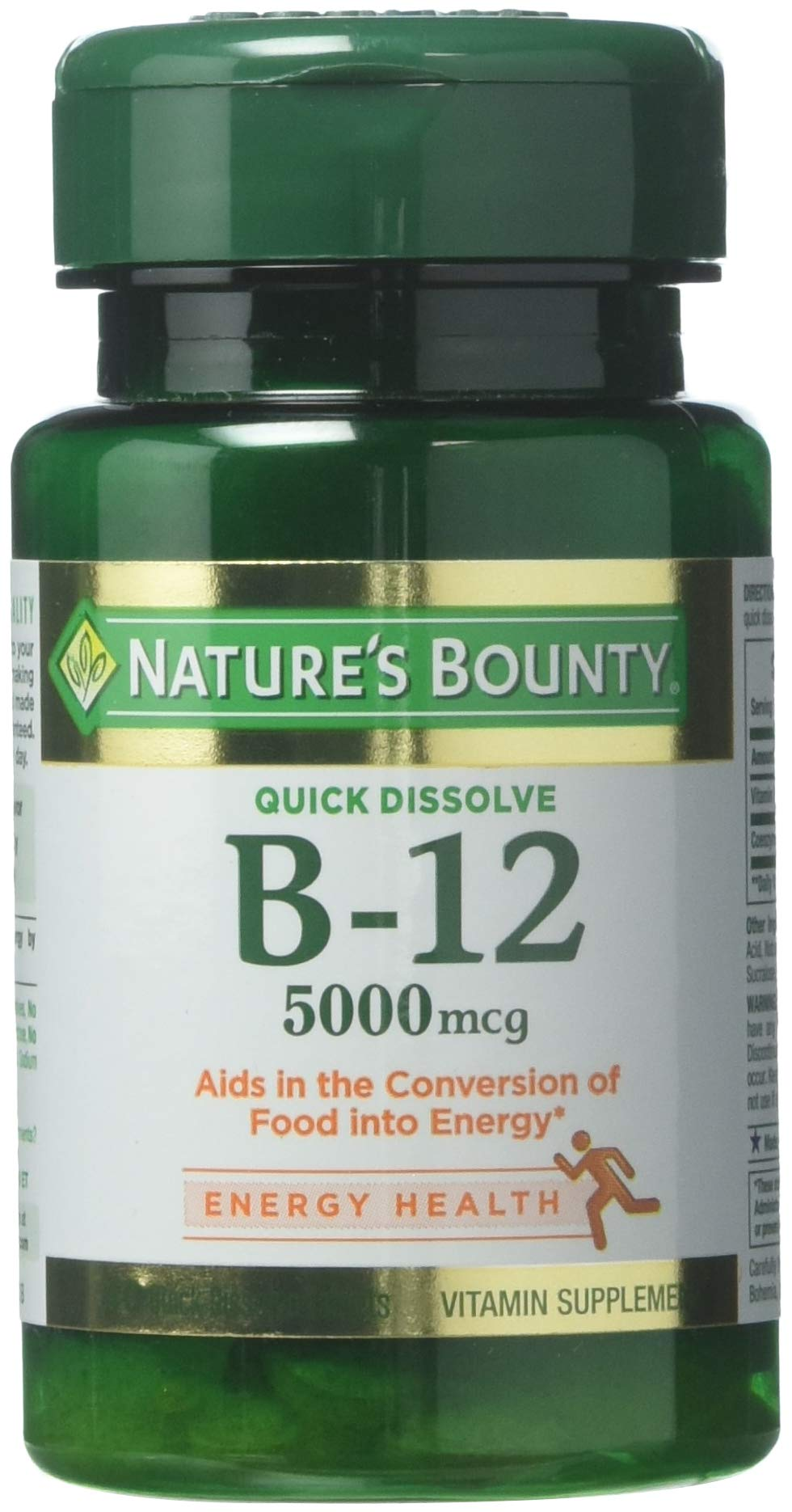 Nature's Bounty Vitamin B-12 5000 mcg, 40 Quick Dissolve Tablets (Pack of 3)