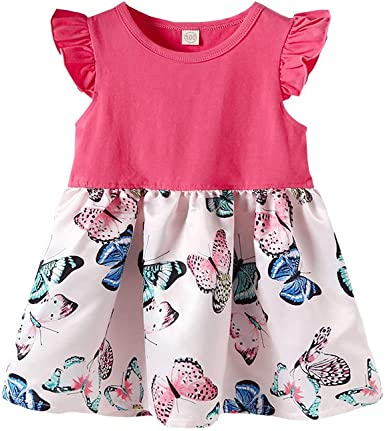 SINDA Toddler Kids Girl Summer Clothes Set Solid Color Cute Flower Print Ruffle Outfit Sleeve Skirt Set