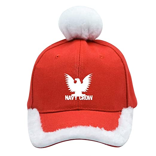 f9b6529255241 Amazon.com  Navy Crow Logo Christmas Baseball Cap Xmas Santa Claus Hat   Clothing