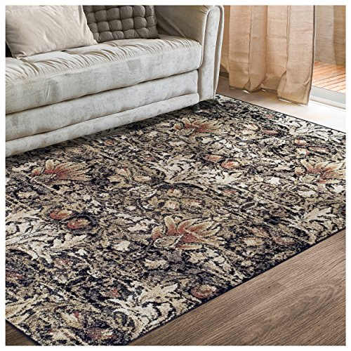 Cheap Superior Designer Braxton Area Rug Collection, Gorgeous Floral Lotus Pattern, 6mm Pile Height with Jute Backing, Affordable and Beautiful Rugs – 5′ x 8′