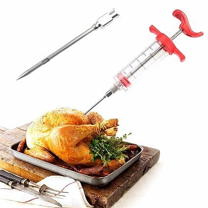 Inyector Jeringa y Aguja de salsas, licores aderezos para barbacoas carnes, asados, rosbeff