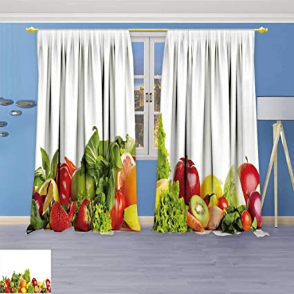 Socomimi Art Curtains Collection Fruit And Vegetable Borders Window Curtain Set Of 2 Panels Living Room 84w X 96l Inch Amazon Co Uk Kitchen Home
