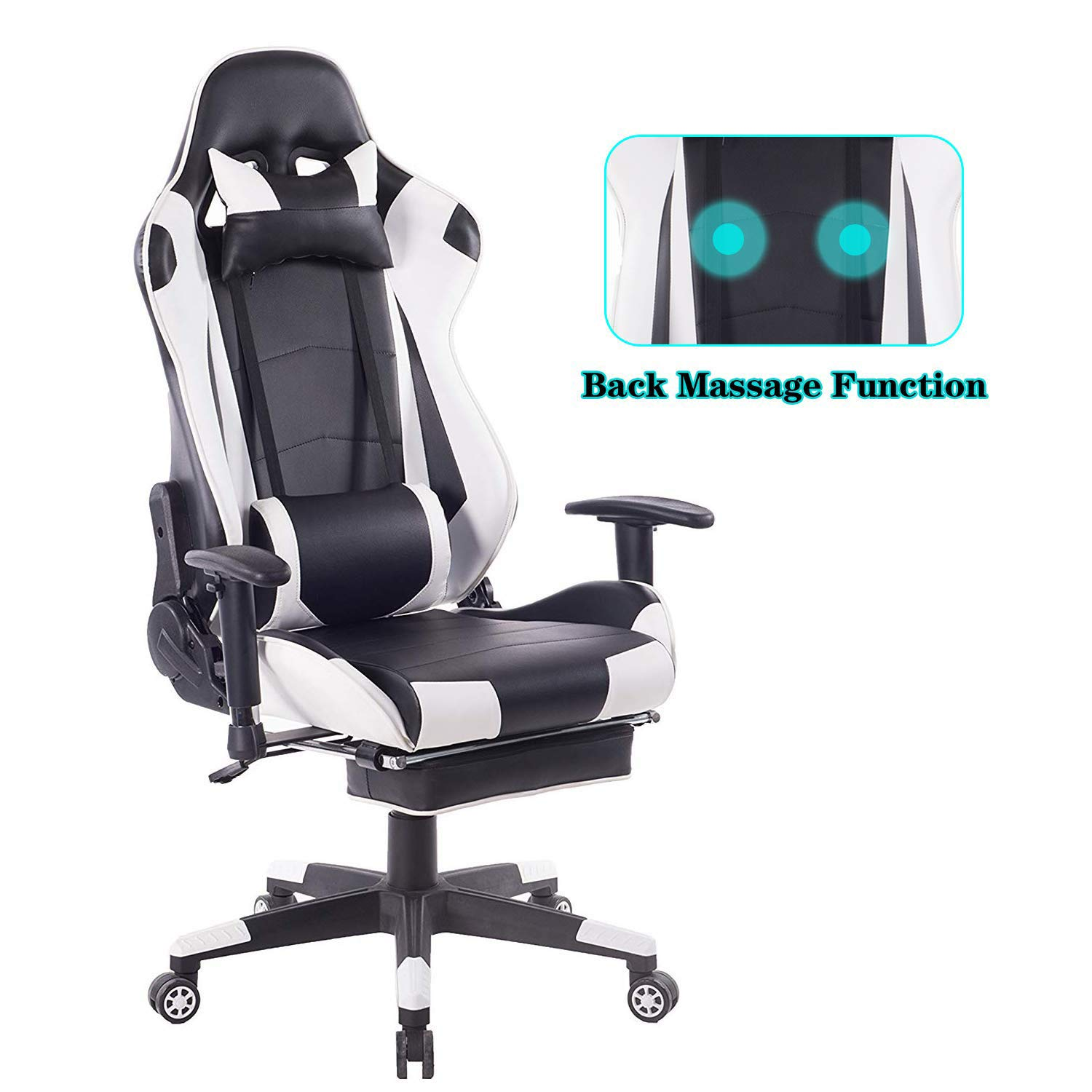 HEALGEN Back Massage Gaming Chair with Footrest,PC Computer Video Game Racing Gamer Chair High Back Reclining Executive Ergonomic Office Desk Chair with Headrest Lumbar Support Cushion GM002(White)
