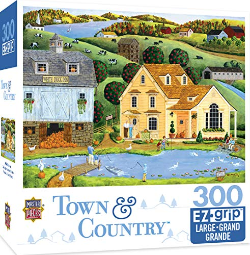 MasterPieces Town & Country The White Duck Inn - Inn with Pond Large 300 Piece EZ Grip Jigsaw Puzzle by Art Poulin